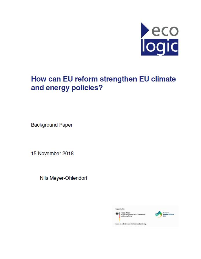 Titelblatt der Ecologic-Studie