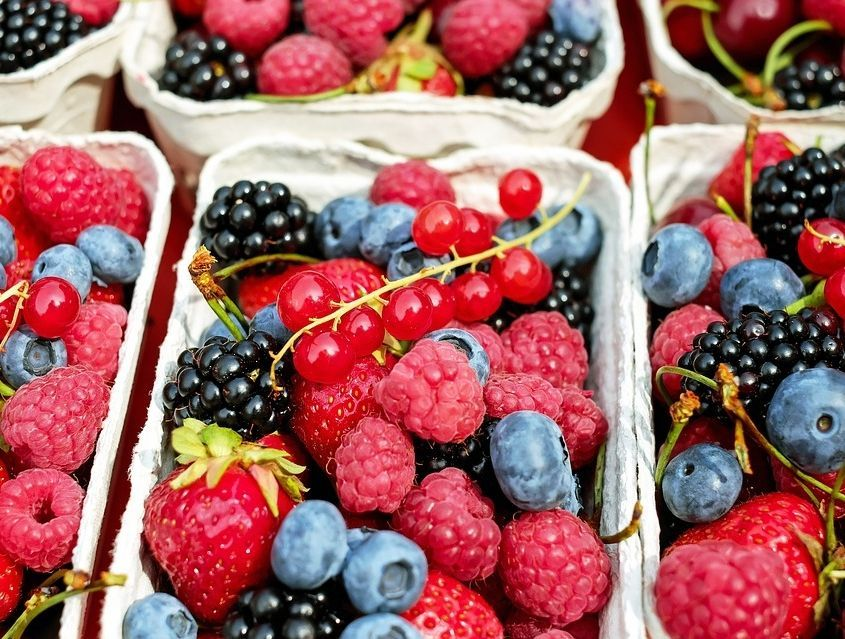 Brombeeren, Himbeeren, Erdbeeren und Blaubeeren in Körben