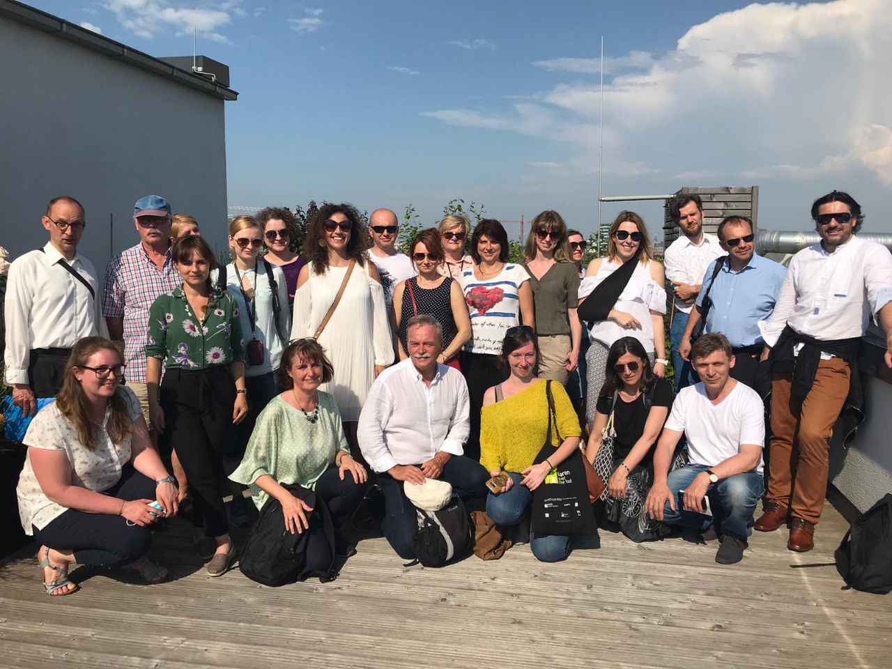 Exchange on reen Roofs in Hamburg in June 2019. Group picture.
