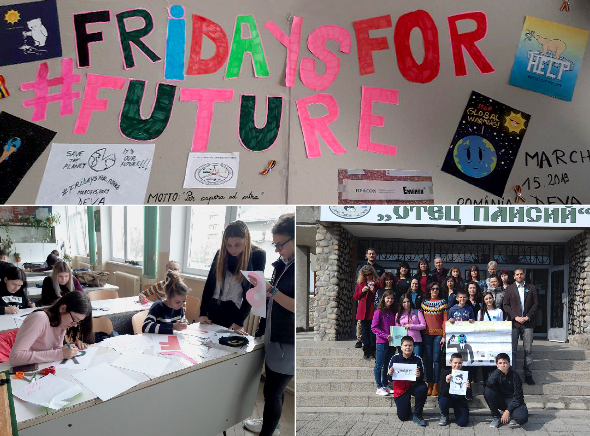 Collage with three pictures. The first picture shows a Fridays for Future banner, the second picture a classroom with a child, which is writing on a poster and the third picture is a group picture in front of a school.