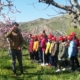 Around 10 children stand on a field and listen to a man pointing on a fruit tree.