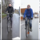 Four cyclists are visible in separated screens