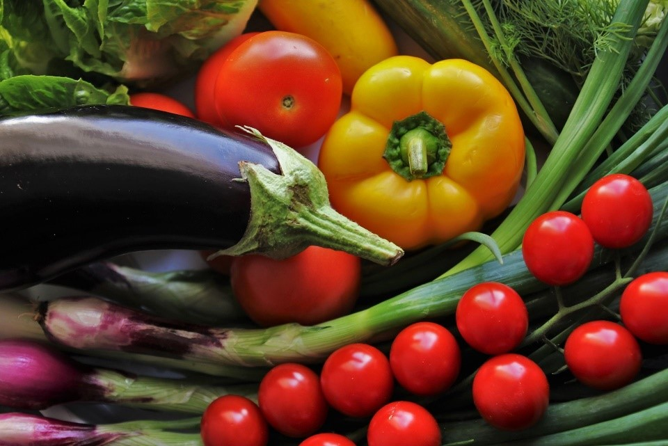 Aubergines, tomatoes, paprica and other vegetables