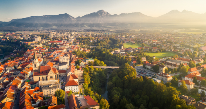 Panoramic view of Kranj and surroundings, Slovenia
