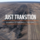 "Kohletagebau und Schriftzug ""Just Transition - Germany's farewell to coal"""