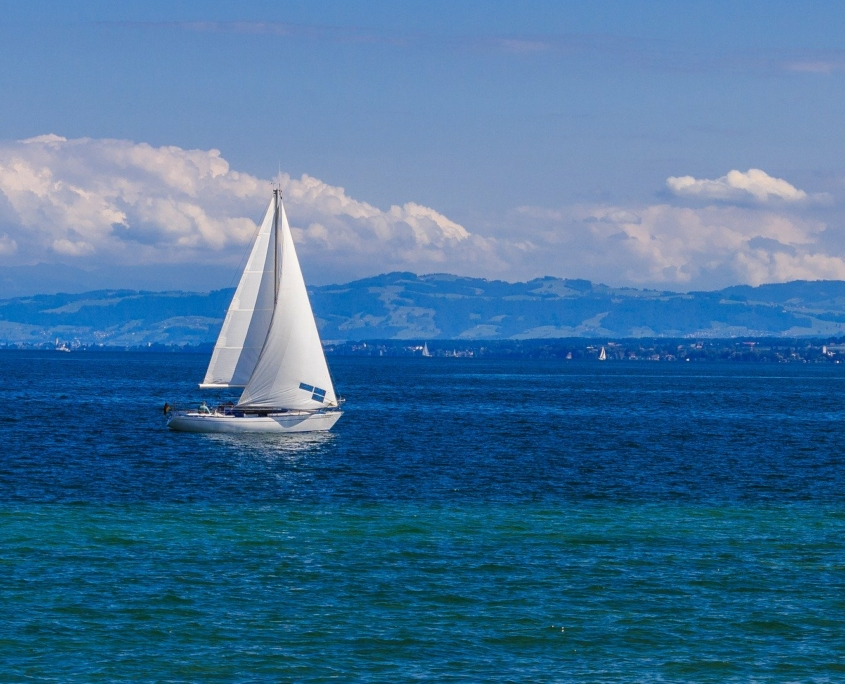 Sailing boat near Radolfzell on Lake Constance