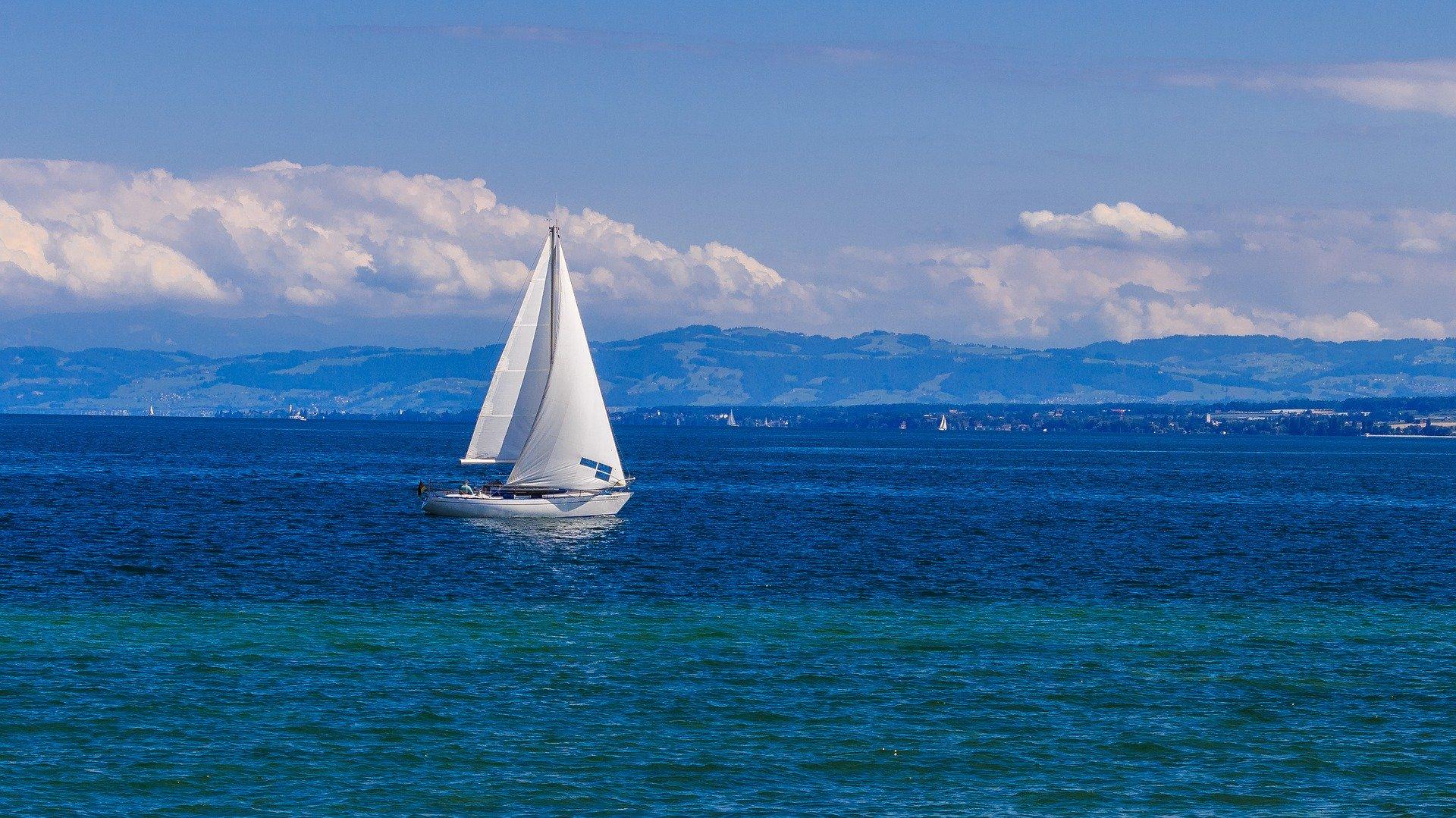 Sailing boat near Radolfzell on Lake Constance