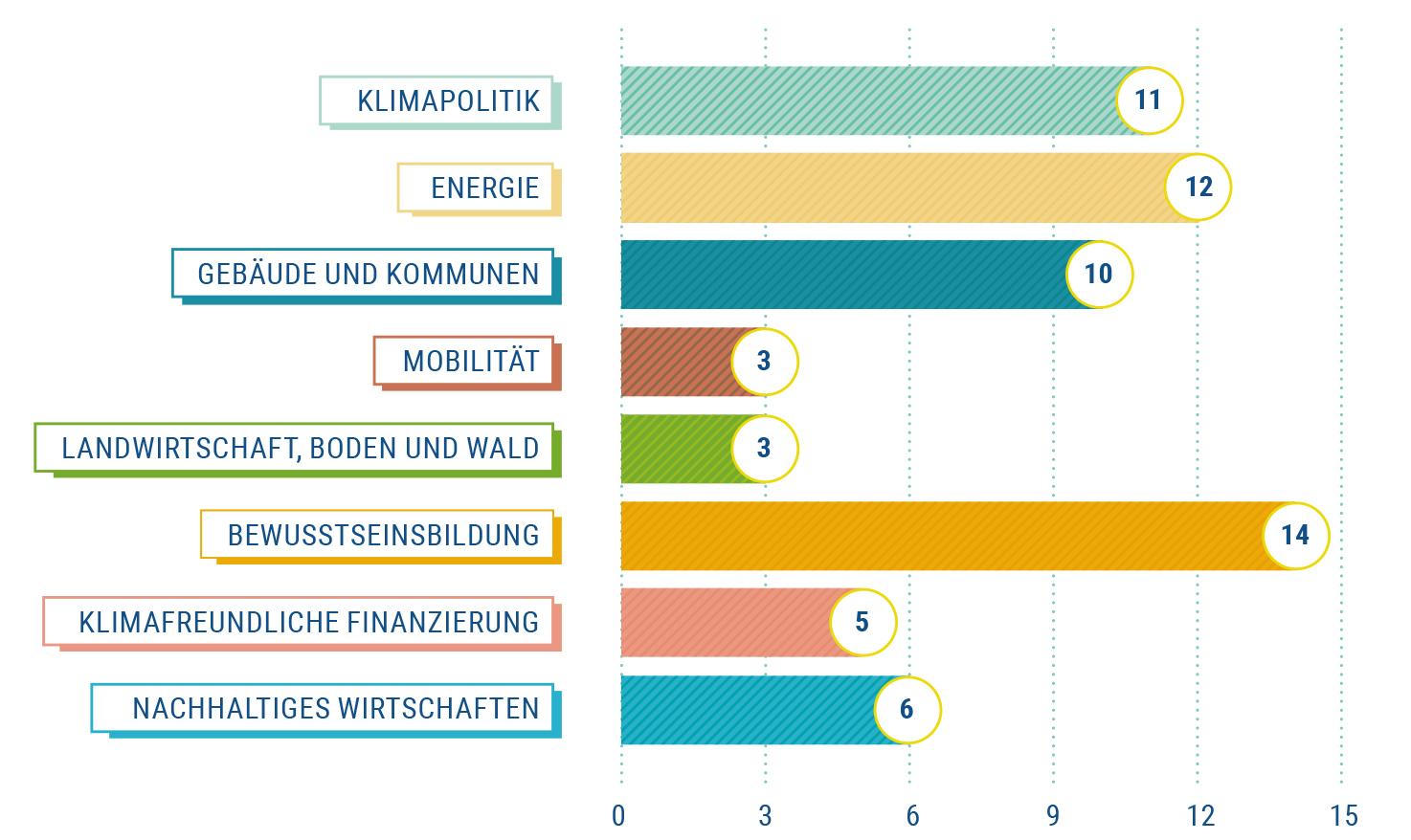 Zuordnung der 64 von der EUKI geförderten Projekte zu Schwerpunktthemen.