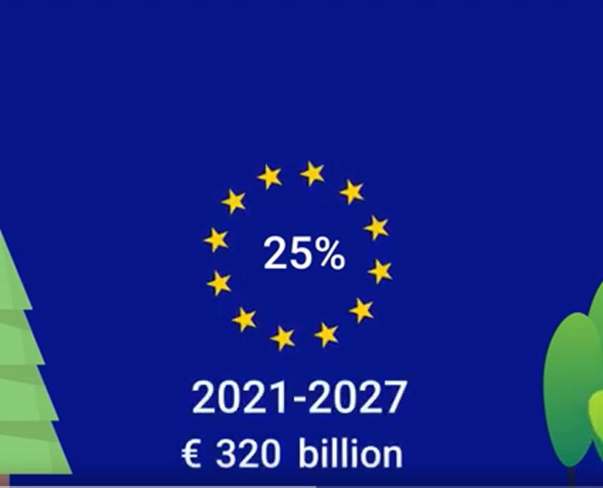 EU-Farbener Hintergrund mit Sternen, in denen 25% steht. Außenrum Bäume.