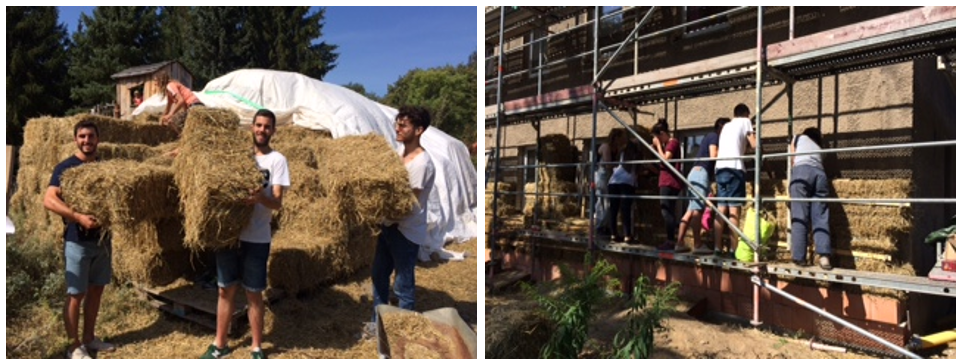 Young people build house from straw bales