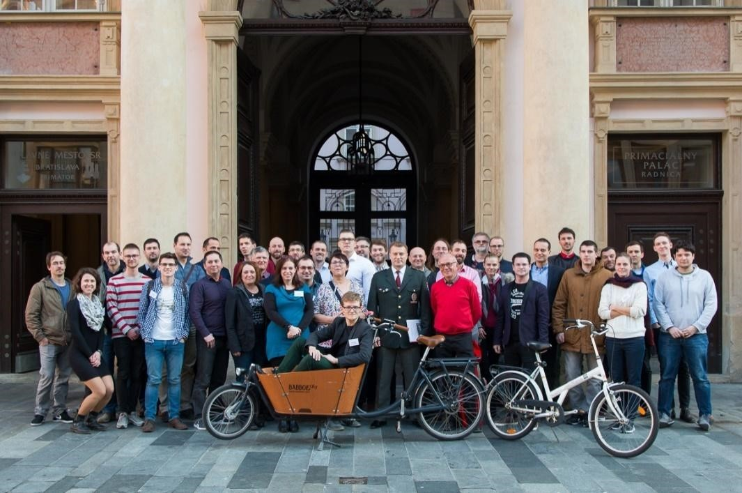 Cyclurban project group with bicycles in Bratislava;