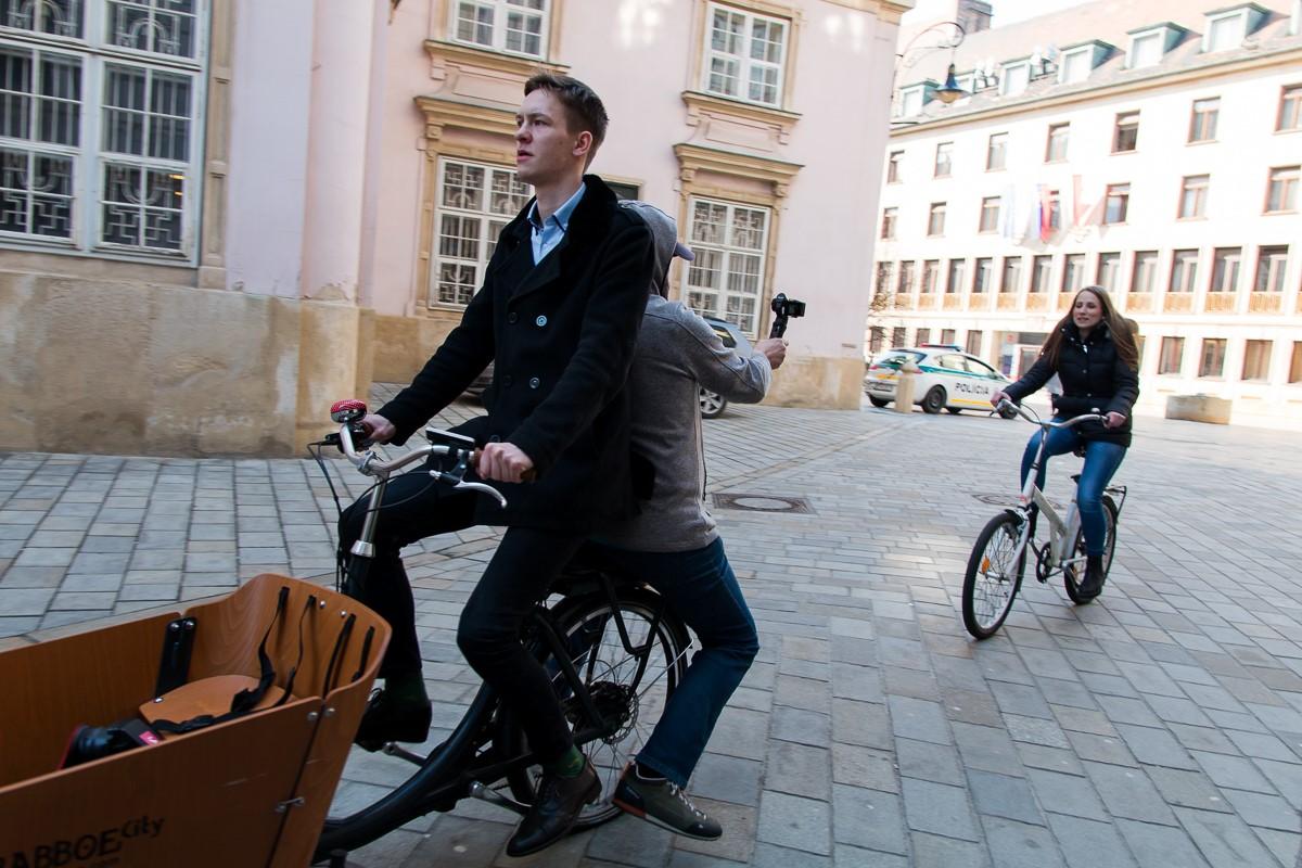 Fahrradfahrer in der Innenstadt