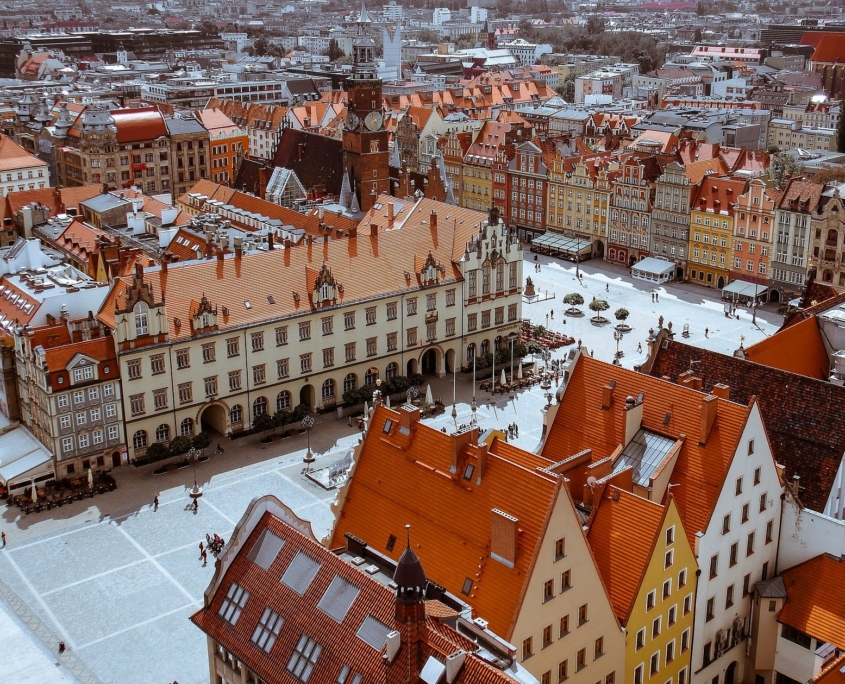 Heritage buildings in the city of Wroclaw, Poland