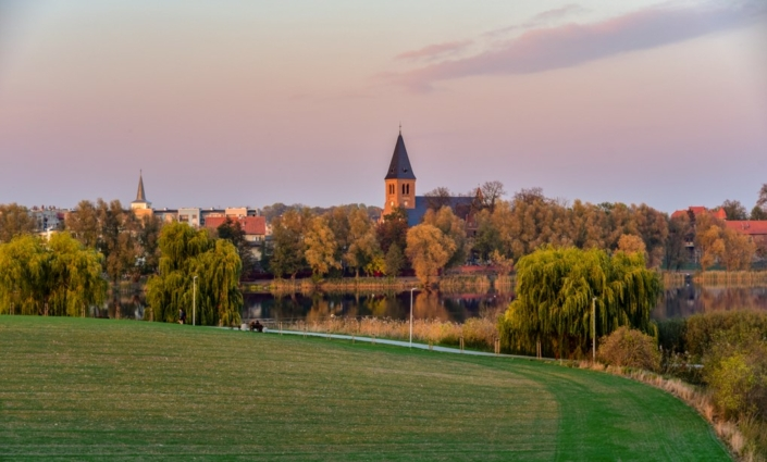 Panoramic picture of the city of Sztum in Poland