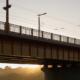 A bridge with electric tram tracks in Kaunas, Lithuania.