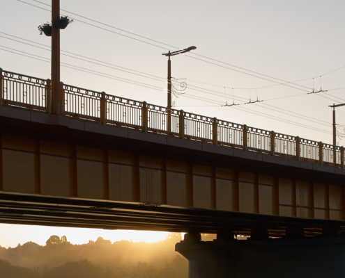 A bridge with electric tram tracks in Kaunas, Lithuania.