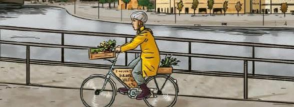 Greta Thunberg cycling through Stockholm