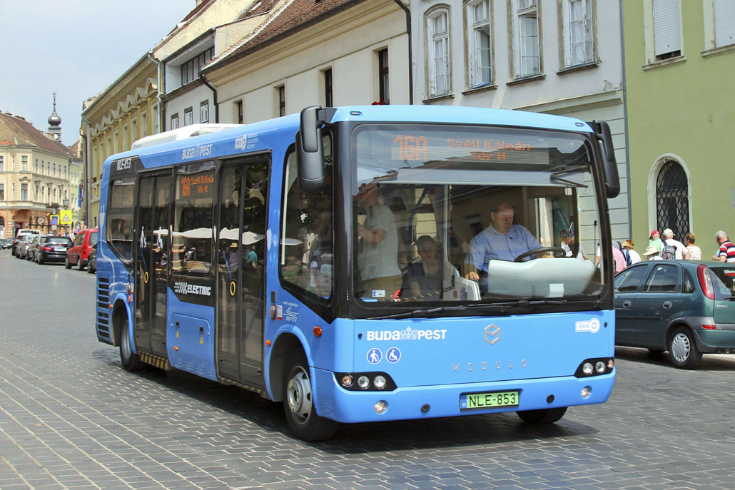 Electric Bus in the Centre of Budapest