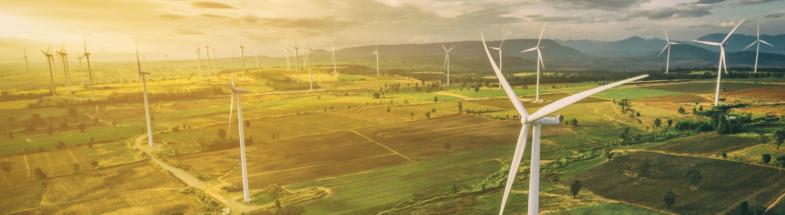 Windräder aus der Luftperspektive.