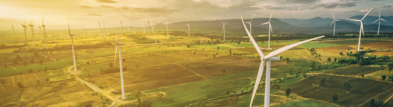 Wind turbines from an aerial perspective.