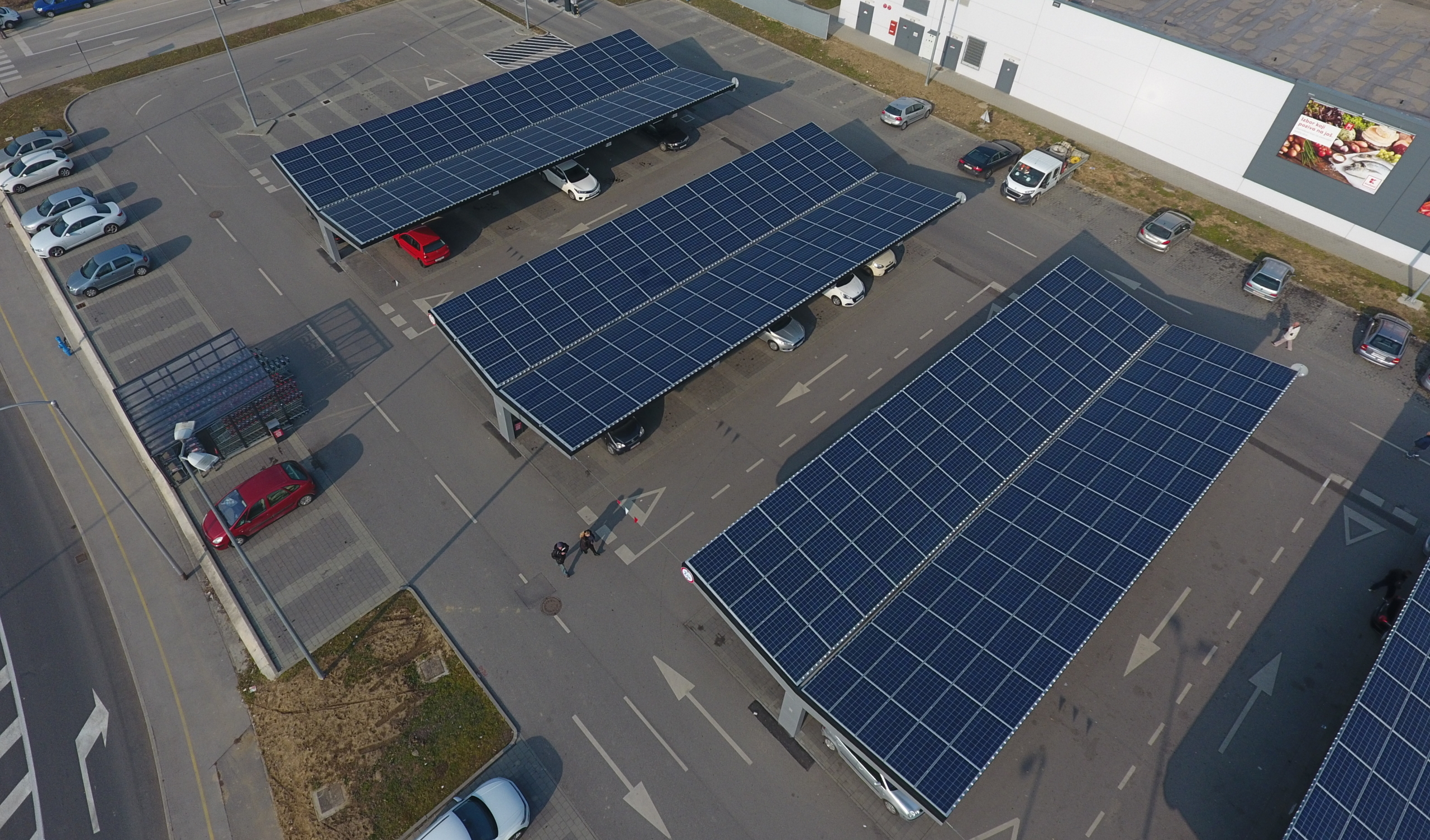 Drone photo of an integrated photovoltaic system on a parking lot in Croatia.