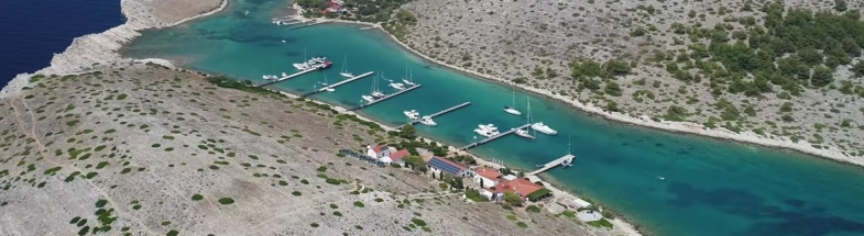 Drone photo of an integrated photovoltaic system on Marina Kornati at the pilot county in Croatia.