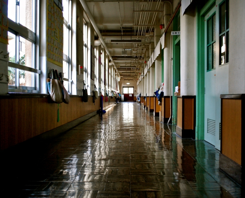 Empty hallway in school building