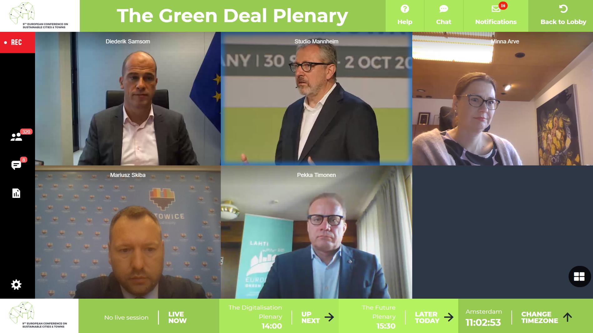 Sprecher*innen im Green Deal Plenum.
