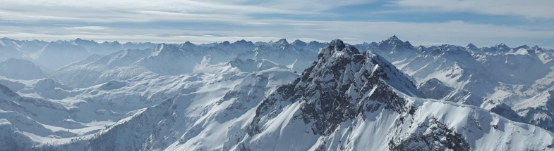 In snow-covered Mountains of the Alps
