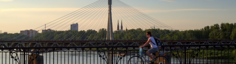 Biking in Warsaw.